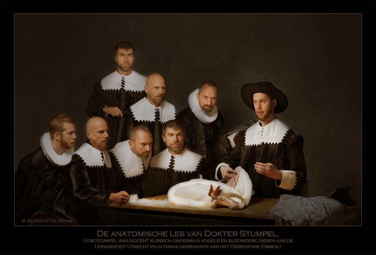 De anatomische les van dokter Stumpel naar historisch voorbeeld van Rembrandt, door Bernadette Boon